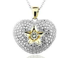 18k Gold Over Sterling Silver and Cubic Zirconia Puffed Heart and Star Pendant Joolwe. $59.99