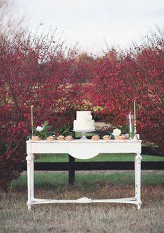 Autumn Wedding Dessert Table Autumn Wedding, Elegant Wedding, Southern Red Velvet Cake, Wedding Blog, Wedding Decor, Dream Wedding, Wedding Desserts, Wedding Cakes, Tree Lined Driveway