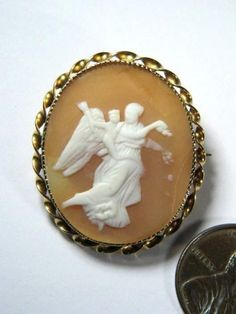 ANTIQUE 9K GOLD CARVED SHELL CAMEO PIN BROOCH c1890 GODDESS OF DAY EOS / AURORA in Cameos | Buy Online at CJ Antiques