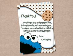 Cookie Monster Inspired Birthday Thank You Card First Birthday Parties, 2nd Birthday, First Birthdays, Birthday Ideas, Birthday Celebration, Cookie Monster Party, Thank You Card Design, Birthday Thank You Cards, Printable Thank You Cards