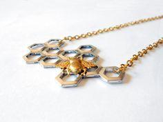 Geometric Honeycomb Necklace  Bee Minimalist by TerraMystique, €14.50
