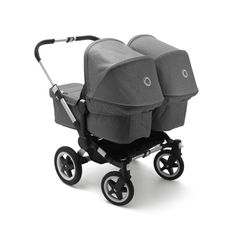 Free shipping and no sales tax on the Bugaboo Donkey2 twin stroller in grey melange from Strolleria.