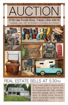 LIVE PERSONAL PROPERTY AUCTION! Tues. July 28, 2015 at 3:00 pm Preview & Registration at 2:00pm 3736 Oak Forest Drive, Toledo, Ohio 43614  View More Information at www.pamelaroseauction.com or call at (419) 865-1224  Pamela Rose Auction Co. LLC #PamelaRoseAuction