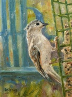 Titmouse at Feeder Oil Painting Bird Portrait Tufted Titmouse Wildlife Nature, painting by artist Debra Sisson