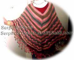 Colorful ponchos: knitting crochet poncho designs cheerleader edges 36-2 Renkli pancolar: Tig isi ponpon kenarli orgu panco tasarimlari