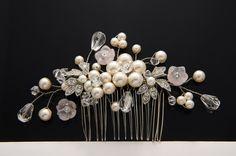 Statement Wedding Vintage Style Bridal Hair Comb,swarovski pearls,beads,CZ crystal,pink flower Wedding Hair Comb,Wedding Hair comb,headpiece