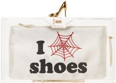 CHARLOTTE OLYMPIA Transparent 'I Love Shoes' Clutch. #charlotteolympia #bags #clutch #glitter #hand bags #