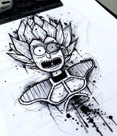 Zap Tattoo Sketches, Tattoo Drawings, Drawing Sketches, Art Drawings, Graffiti Drawing, Graffiti Art, Trippy Drawings, Rick And Morty Drawing, Rick And Morty Tattoo