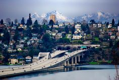 """I-90 bridge, looking to Seattle; """"Seattle- Portal to the Pacific"""""""