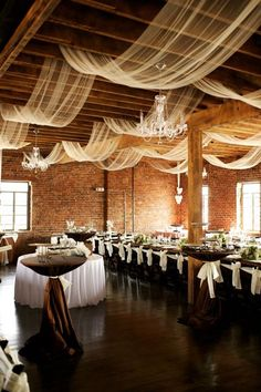 Loft 1023 :: A Wedding and Event Venue. Love the draped organza through the beams
