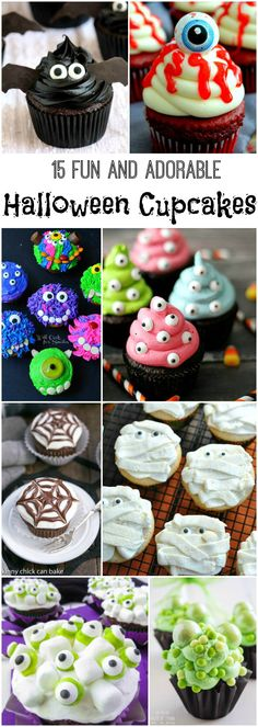 15 fun and adorable Halloween cupcakes, halloween desserts 15 fun and adorable Halloween cupcakes Halloween Desserts, Bolo Halloween, Pasteles Halloween, Hallowen Food, Halloween Baking, Halloween Party Supplies, Halloween Goodies, Halloween Food For Party, Halloween Birthday