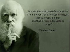 it is not the strongest of the species that survives, nor the most intelligent that survives. it is the one that is most adaptable to change. DARWIN
