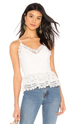 TOPSHOP 3D Lace Shell Top ($68) ❤ liked