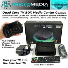 Bluetooth Wifi Quad Core TV Box Combo 3D 1080HD XMBC Miracast Chromecast DNLA #MediaVision