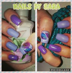 Spring nails, purple, lavender, glitter, feathers, acrylic nails, matte nails