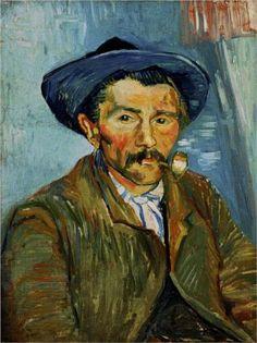 ARLES dec. 1888 / Portret van een boer met  pijpje /The Smoker (Peasant) - Vincent van Gogh