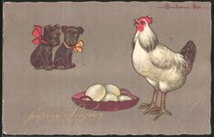 Künstler-AK E.Colombo: Hunde beobachten Ostereier und ein Huhn 0