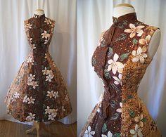 Beautiful 1950's Hawaiian brown floral cotton tunic mandarin collar style summer sun dress tiki Hawaiiana pin up