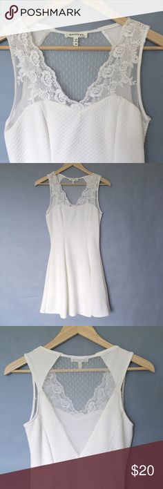 """Monteau white lace sun dress Monteau white lace sun dress. Excellent condition. Size M but more like a S. Flat measurements: underarms: 15"""", waist: 12.5""""-16"""",length: 33"""". From pet free and smoke free home. Monteau Dresses Midi"""