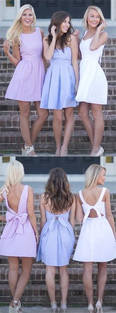 vintange light blue stain short homecoming dresses for teens, modest backless prom party gowns with bowknot