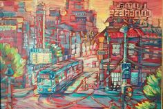 """""""Crossroads with Streetcar"""" by Lisa Kanouse 24x36 osd $645"""