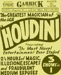 Harry Houdini's final performance was at the Garrick Theater in Detroit, Michigan.  He went onstage with a fever of 104 degrees caused by peritonitis, and was rushed to the hospital immediately after the show.  He died a week later, on March 31, 1926.