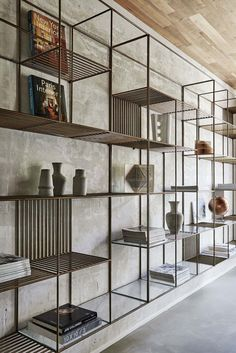 Three Story Contemporary Home Surrounded By Italian Countryside Metal Bookcase Wall