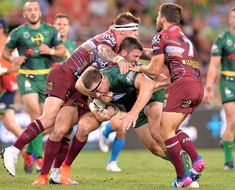 Shannon Boyd of the Raiders takes on the defence during the round four NRL match between the Brisbane Broncos and the Canberra Raiders at Suncorp Stadium on March 24, 2017 in Brisbane, Australia.