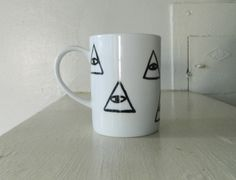 Handpainted All-Seeing Eye Ceramic Mug