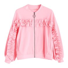Zip Up Ruffles Bomber Jacket ($27) ❤ liked on Polyvore featuring outerwear, jackets, blouson jacket, bomber jacket, pink bomber jacket, style bomber jacket and pink jacket