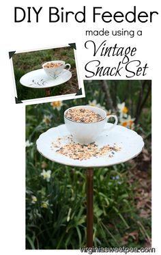 DIY Bird Feeder Made Using a Vintage Snack Set - Get the full tutorial with step-by-step instructions at virginiasweetpea.com