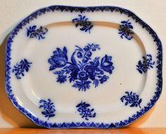 Gorgeous Bird Floral Antique Flow Blue Celebrate English Porcelain Casserole Ceramics & Porcelain Antiques