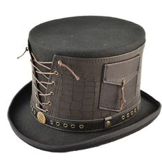 Fantastic Steam Punk Topper with real leather strap Real Leather, Steampunk, Feather, Baseball Hats, Unisex, Board, Products, Fashion, Moda