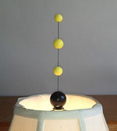 "ATOMIC Ranch ART Retro YELLOW 7"" Tier Shade LAMP Light Top FINIAL Modern Sputnik"