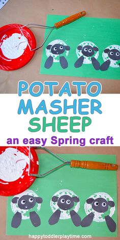 This is an easy Spring Sheep craft you can do today! All you need is your potato masher and a few craft supplies!
