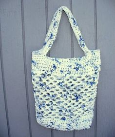 Purse made out of plarn.  Plarn:  yarn made out of plastic bags.  Repurpose all those plastic grocery bags before they reach our landfills.