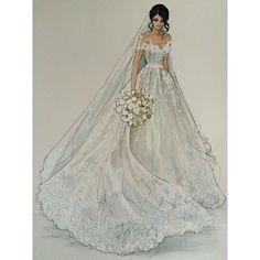"""329 Likes, 4 Comments - Karen Orr (@karenorrillustration) on Instagram: """"Lovely Ramona wear @steven_khalil @ramonaaab #bridalgown #weddingdress #weddinghair…"""""""