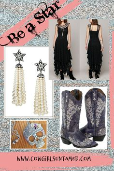 TOUCH OF GLAM EARRINGS Pave Silver Star Long Pearl Tassel Earrings ONLY 2 LEFT All About Fashion, Love Fashion, Boho Jewelry, Handmade Jewelry, Cowgirl Style Outfits, Autumn Fashion Women Fall Outfits, Wedding Boots, Skull Fashion, Cowgirl Boots