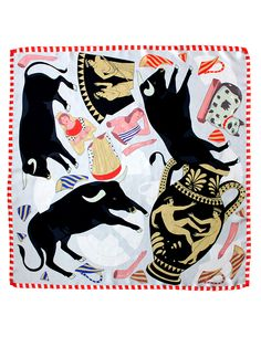 Like a Bull in a China Shop Silk Scarf | Karen Mabon