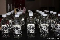 Damask duct tape on water bottles