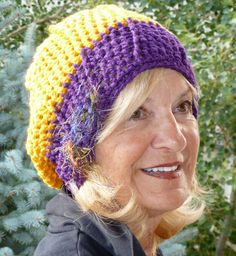 Crochet Team Hat in Purple and Yellow Gold  by hatsbyanne1942, $40.00