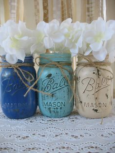 Exterior Mason Jar Decorations For White Roses Between Dark Blue And Light Blue Is Also Brown Creative Ideas For The Mason Jar Decorations