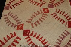 Antique Red wedding ring Quilt detail