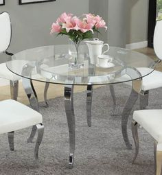 Letty Traditional Chrome Clear Glass Round Dining Table
