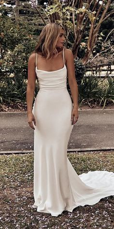 24 Rustic Wedding Dresses To Be A Charming Bride ❤ rustic wedding dresses sheath with spaghetti straps- country grace loves lace ❤ hochzeitsgast dresses Bohemian Wedding Dresses, Best Wedding Dresses, Boho Wedding, Bridal Dresses, Bridesmaid Dresses, Wedding Ideas, Sheath Wedding Dresses, Wedding Dress Simple, Cowl Neck Wedding Dress
