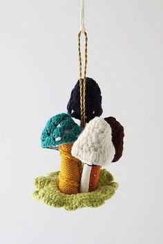 Anthropologie Crocheted Mushroom Ornament