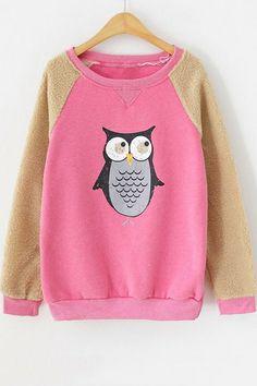 Paneled Owl Fleece Sweatshirt OASAP.com