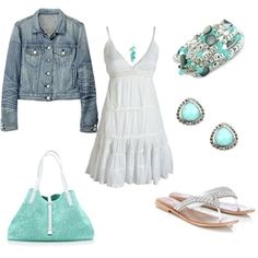 Turquoise/White with Denim...Love!