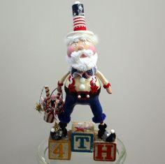 Fourth of July Patriotic Folk Art Uncle Sam by JuneBugsByLinda, $35.00