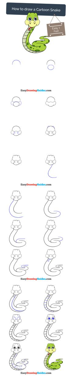 Learn How to Draw a Snake: Easy Step-by-Step Drawing Tutorial for Kids and Beginners. #snake #drawing. See the full tutorial at https://easydrawingguides.com/draw-cartoon-snake/